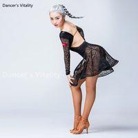 платье для танцев оптовых-Women Latin Dance Dress Lace Round neck short sleeves Women Ballroom Dancing skirt Latin Dance Costume Dress modern