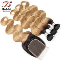 Wholesale Ombre Human Hair Body Wave T1b Dark Root Honey Blonde Extensions Bundles with Lace Closure Colored Brazilian Hair Free Part Closure