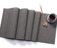 ingrosso runner bambù-PVC Bamboo Table Runner imitazione Bamboo Grain Knitted Table Cover Decorazione Posto Mat PVC decorativo tovagliette lavabili per pranzo di nozze