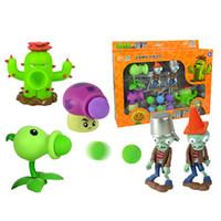 ingrosso bambole giocattolo zombie-Plants vs Zombies Action Figure Giocattoli Shooting Dolls 5-in-1 Set in confezione regalo
