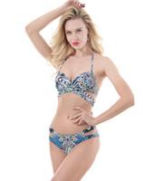 f8f6dc7838 Maillot de bain de style ethnique imprimé pour femmes 'Trendy close-fitti  bikini taille basse dos nu sexySwimsuit Tankini Swimwear