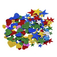 блеск наклейки звезды оптовых-2 пакет пены Звезда сердце блеск наклейки стены DIY проектов