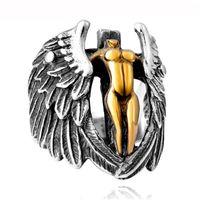 bisikletçi tarzı erkek yüzükleri toptan satış-Yeni Serin Stil Altın Gümüş Melek Yüzük Ile Kanatları Erkek Moda Motor Biker Çapraz Yüzük Patron Aziz Iyi Şanslar erkek Takı