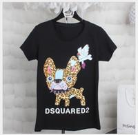 camisa de dibujos animados damas al por mayor-diseñador de moda de verano Ciervos pintados Harajuku T Shirt negro blanco Camiseta femenina Camisetas de dibujos animados Camiseta para mujer NO Logo