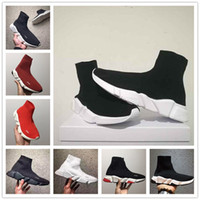boite à chaussures pour femmes achat en gros de-New Paris Speed Runner Knit Chaussette Chaussure Original De Luxe Trainer Runner Sneakers Race Hommes Femmes Chaussure De Sport Sans Boîte