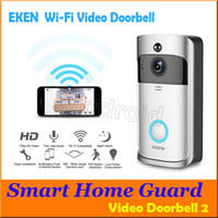 video kamera algılama toptan satış-EKEN Akıllı Kablosuz Video Kapı Zili 2 720 P HD 166 ° Wifi Güvenlik kamera Gerçek Zamanlı Iki Yönlü Konuşma ve Video PIR Hareket Algılama APP Kontrolü
