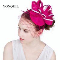Hot pink or 18 colors Hair fascinators for elegant ladies women headband  races church hat wedding veils fascinator hat base in summer SYF151 2ee9294b26c1