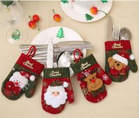 weihnachtsgeschenkbeutel setzt großhandel-Cartoon Weihnachten Hut Besteckhalter Weihnachten Mini Red Santa Claus Besteckbeutel Party Decor Nettes Geschenk Hut Geschirr Halter Set G304
