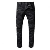 Wholesale panel 42 for sale - hot sale Men s New brand motorcycle for tight denim Jeans high fashion designer famous camouflage black jeans jeans