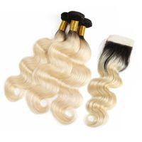 Wholesale wavy closure 1b online - Brazilian Virgin B Blonde Body Wave Human Hair Bundles With Closure Unprocessed Wet Wavy Human Hair Bundles With Closure Hair Extension