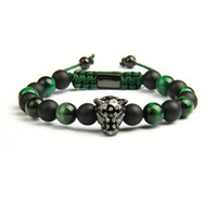 Wholesale bead macrame resale online - New Hot Sale Lover Jewelry Natural Stone Beads Micro Paved Leopard Macrame Bracelets Green For Men Pink For Women