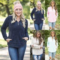 Wholesale hoodies sweatshirts dhl for sale - Group buy Sherpa Pullover Women Winter autumn Sweatshirt new V neck zipper Sweaters colors DHL C3541