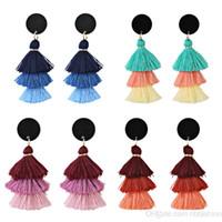 Wholesale korean fashion skirt long - Korean Personality Hula Fashion Colour Multi-storey Manual Split Joint Cotton Tassels Long The New Skirt Pendulum Earrings