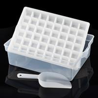 çoklu saklama kutusu şeffaf toptan satış-Çevre dostu 48 Izgaralar Ice Cube Tepsi Kalıp Çok Fonksiyonlu Saklama Kutuları Ve Kapak Ile Dondurma İşaretleyiciler-Şeffaf Stoklanan