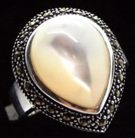 cáscara de gemas blancas al por mayor-unsex 25 * 20mm RARO NATURAL BLANCO SHELL GEMS MARCASITE 925 ANILLO PLATA TALLA 7/8/9/10