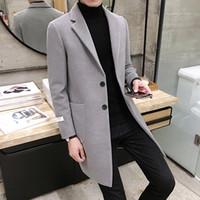 wolle kaschmir blend anzug großhandel-Wollmischung Anzug warm im Winter schlanke reine Farbe Cashmere Mantel / männlich hochwertigen Freizeit langen Trenchcoat