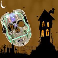 tiras de calavera al por mayor-Máscaras de Halloween de miedo cráneo luminiscencia LED Máscara Brillante Moda Franja de luz fría de una sola cara del fantasma del partido 12 99qc dd