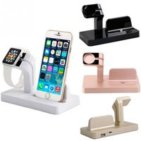 Wholesale black docking station - 2 in 1 Phone Holder For Apple Watch Charging For iPhone X 8 7 6 6S Plus SE 5S 5 Charger Stand For Mobile Phone Dock Station Desk