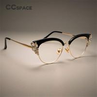 e27b0c44288 CCSPACE GORGEOUS Ladies Cat Eye Shiny Rhinestones Glasses Frames For Women  Brand Designer Eyewear Optical EyeGlasses 45120