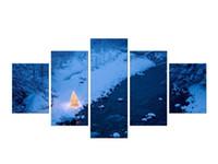 peyzaj dağları toptan satış-5 Parça Karlı Dağlar Bulutlu Gökyüzü Kar Dağ Paneli Resimleri Modern Peyzaj Resimleri Fotoğraf Tuval Üzerine Baskılar Çerçeveli