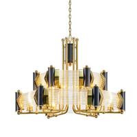 lustres modernes en métal et cristal achat en gros de-Lustre en cristal moderne design en métal atmosphère en acier inoxydable salon villa club lustre en verre tige