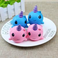mavi gül takılar toptan satış-Squishy 10 CM Unicorn Balina Sevimli Mavi / Pembe Squishies Yumuşak Yavaş Yükselen Oyuncaklar Kawaii Karikatür Zincirleri Dekompresyon telefon Staps Charm çocuklar hediye