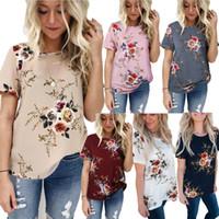 Wholesale ladies short sleeve shirts - Floral Print T shirt Woman O neck Short Sleeve Summer Women T shirt Casual Loose Top Ladies Chiffon Maternity Tops Tee Shirts