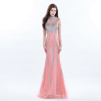 Wholesale purple luxury crystal beaded dress for sale - Luxury Celebrity Long Coral Prom Dress Beaded High Neck Formal Gowns Long Sequin Dress Real Photo Gown Young Lady Evening Dresses