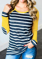 ingrosso t patch-T-shirt a maniche lunghe da baseball T-shirt a righe patchwork da donna T-shirt a maniche corte con motivo gomito casual MT2325