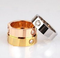 Wholesale rose gold wedding jewelry sets - Wedding Bands love Rings for women Luxury Cubic zirconia rose gold silver Gold Engagement Ring men jewelry Gifts for Female 6 mm