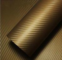 fibra coche dorado al por mayor-1.52 * 28 m Mejor Precio PVC Autoadhesiva Burbuja 3d Carbono de Fibra de Carbono Etiqueta de La Película Del Abrigo Del Coche Auto