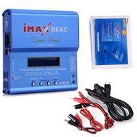 ingrosso alimentazione di batteria al litio-IMAX B6AC Digital AC 80W Lipo NiMH Nicd Batteria al litio bilanciatore Caricabatterie Scarico con schermo LCD Alimentazione Spina EU RC B6