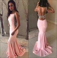 Wholesale silver brooch stones resale online - 2018 Light Pink Satin Mermaid Long Prom Dresses Beaded Stones Backless Sweep Train Long Evening Gowns ba8929