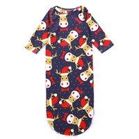 uyku hali uykusu toptan satış-Çiçek Domuz Yenidoğan Bebek Uyku Tulumu Noel Elk Yay Nokta Santa Baskılı Tasarımcı Nightgowns Kravat Düğümlü Kış Pijama 0-3 M