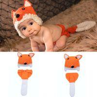 Wholesale crochet fox hat resale online - Baby Photography Props Fox Design Newborn Costume Photography Props Hand Made Crochet Baby Photo Shoot Clothes