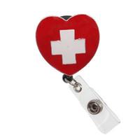 nurse id holder оптовых-5шт медицинское сердце медсестра крест эмаль выдвижной катушки / ID значок имя держателя