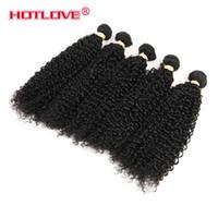 dalgalı düz saç toptan satış-HOTLOVE Malezya Bakire Kinky Kıvırcık İnsan Saç 100 gram / Paket Düz Gevşek Derin Vücut Dalgalı Ücretsiz Kargo Doğal Siyah 1 Adet / grup