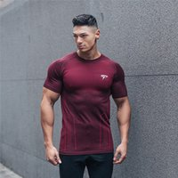 Wholesale Elastic Body Shirt - New 2018 muscles, men's sports body, T-shirt, T-shirt, high elastic, breathable, tight body, sweatshirt, short sleeved blouses and fitness