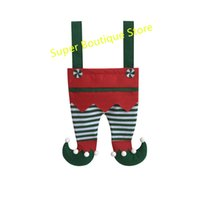 Wholesale christmas stockings for sale resale online - 2018 Hot Sale Christmas Elf Santa Pants Gift Bags For Candy