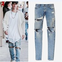 Wholesale Kanye West Jeans - Wholesale-kanye west designer clothes men jeans rockstar justin bieber ankle zipper destroyed skinny ripped masticate jeans