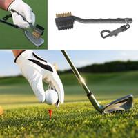 escovas de limpeza do clube de golfe venda por atacado-Mini Duplo Lado Golf Latão + Nylon Golf Club Cabeça Groove Cleaner Escova de Limpeza Kit de Ferramentas com Cabide de Golfe Accessoriesprops