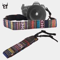 dslr askı kayışları toptan satış-ET Retro Tarzı Kamera Askısı Kemerleri Pamuk Yard Desen Boyun Sling Sapanlar Canon Nikon DSLR Fuji için Renkli Omuz El Kayışı