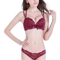 a3f954f67 Sexy Lace 3/4 Copo Conjuntos de Sutiã Para As Mulheres Sem Fio de Algodão  Fino Respirável Confortável Roupa Interior Cor Sólida Preto Vermelho  Lingerie ...