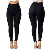 damen-mode slim fit jeans großhandel-Mode Jeans Frauen Candy Farbe Bleistift Hosen Hohe Taille Jeans Sexy Dünne Elastische Dünne Hosen Hosen Fit Lady Jeans D1892003