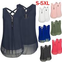 Wholesale army green chiffon shirt - 2018 Summer New Sleeveless Chiffon Vest Top Women's Cross Hem Bottom Zipper V-neck T-shirt XL S-5XL