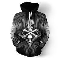 ingrosso tute per motociclisti-Felpa con cappuccio da uomo Art Skull Felpa con cappuccio e felpa con cappuccio