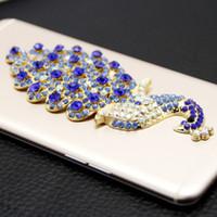 ingrosso decorazione dei diamanti del telefono-Decorazione della cassa del telefono della gemma del pavone Handmade Diamond Red Peacock Portafoglio del telefono Mobile Computer decorazione Accessori Accessori.