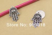 ingrosso borsa in bronzo-20 pz / borsa all'ingrosso lega argento antico / bronzo antico colore hamsa pendente a mano 28 * 42mm F510