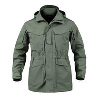 ceket erkek ordusu için kapüşonlu toptan satış-M65 Su Geçirmez Pilot Ceketler Erkekler Rüzgarlık Kamuflaj Taktik Alan Ceket Erkek Kapşonlu Cep Ordu Ceket Erkek Giysileri