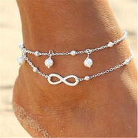 ingrosso signora sexy del piede-Top Quality Lady Double 925 Sterling Silver Plated Chain Ankle Anklet Bracelet Sexy Sandalo a piedi nudi Sandali da spiaggia